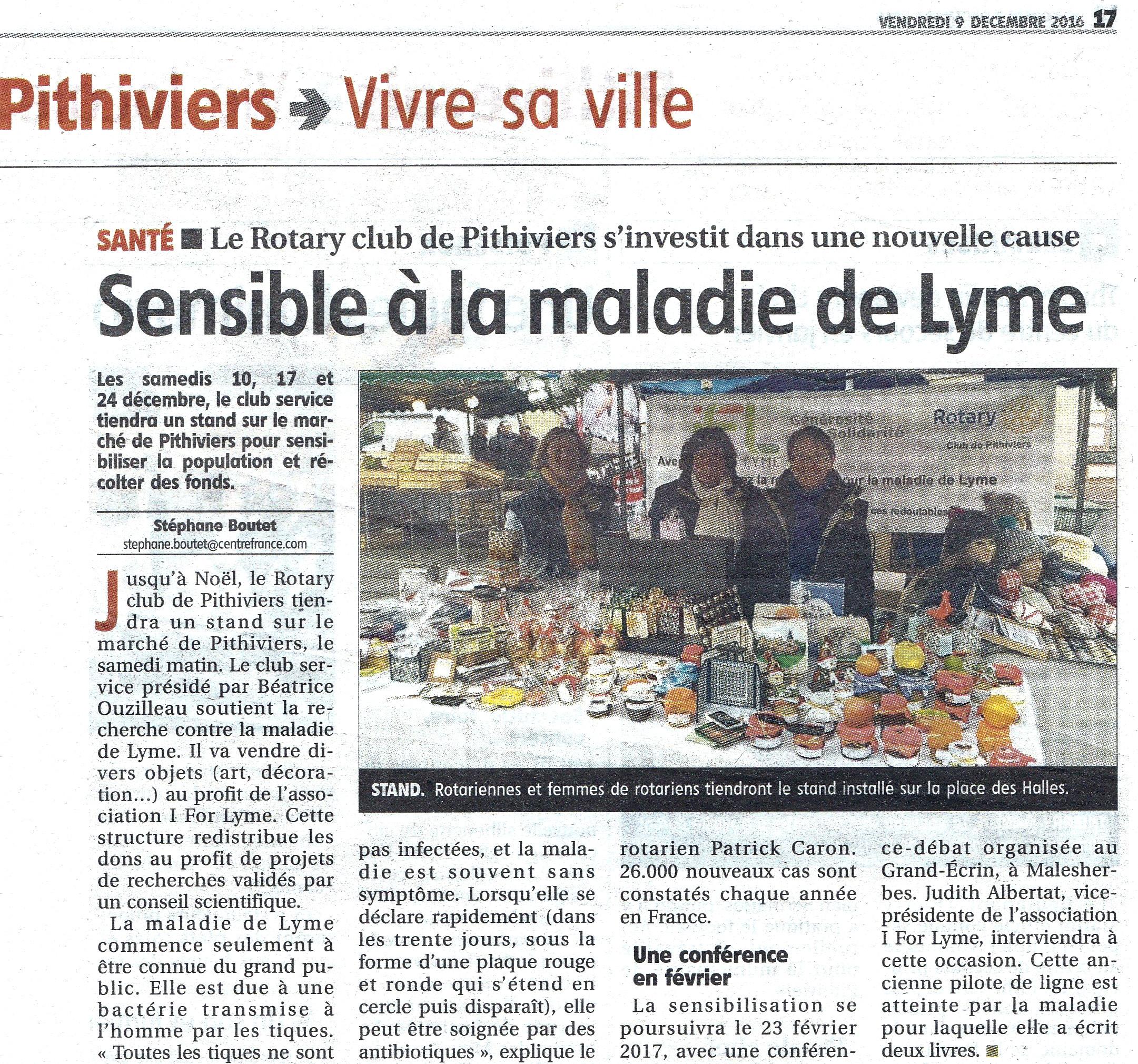 L'engagement du Rotary Club de Pithiviers aux côtés d'I FOR LYME